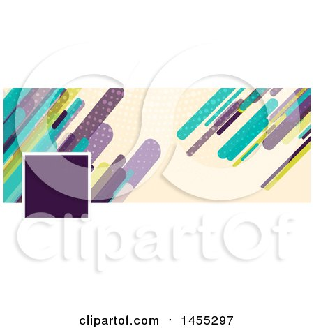 Clipart of a Business Facebook or Website Banner Design with a Space for a Photo or Logo with Retro Colorful Shards on Tan - Royalty Free Vector Illustration by KJ Pargeter
