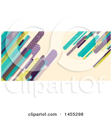 Clipart of a Business Facebook or Website Banner Design with Retro Colorful Shards on Tan - Royalty Free Vector Illustration by KJ Pargeter