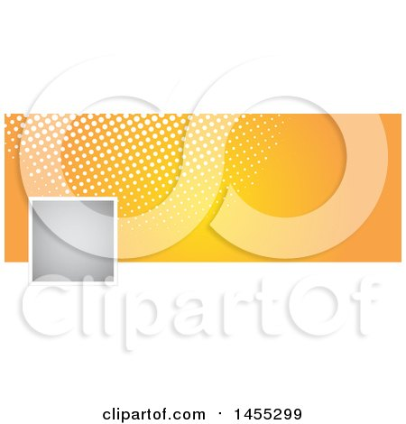 Clipart of a Halftone Dot and Orange Facebook or Website Banner Design Element with Space for a Logo or Photo - Royalty Free Vector Illustration by KJ Pargeter