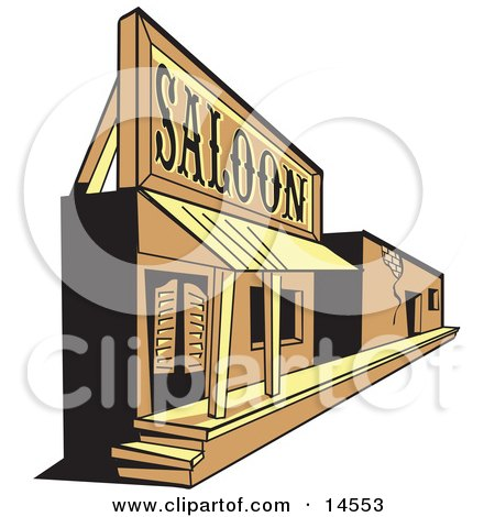 Old Saloon Facade In A Ghost Town Clipart Illustration