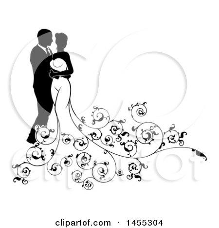 Clipart of a Black and White Silhouetted Posing Wedding Bride and Groom with Floral Swirls - Royalty Free Vector Illustration by AtStockIllustration