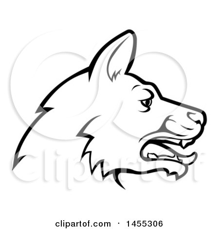 Clipart of a Black and White Profiled German Shepherd Dog Face ...