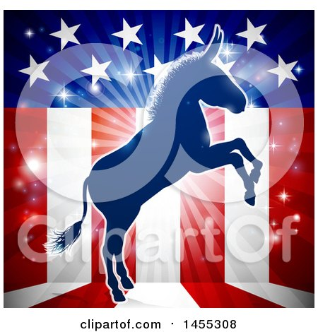 Clipart of a Blue Silhouette of a Rearing Democratic Donkey over an American Flag Themed Burst - Royalty Free Vector Illustration by AtStockIllustration