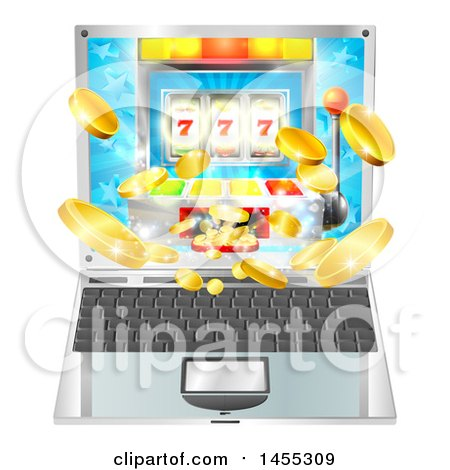 Clipart of a 3d Laptop Computer with a Slot Machine and Coins Flying out from the Screen - Royalty Free Vector Illustration by AtStockIllustration