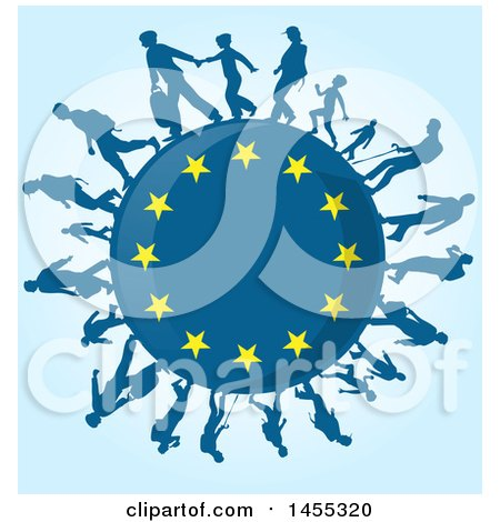 Clipart of a European Flag Globe with Silhouetted Immigrants over Blue - Royalty Free Vector Illustration by Domenico Condello