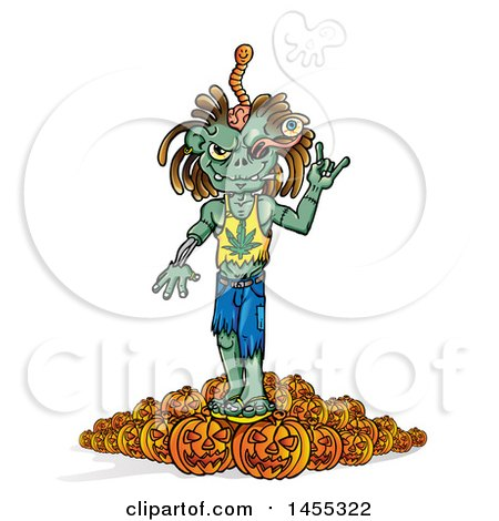 Clipart of a Cartoon Zombie Wearing a Pot Leaf Shirt and Smoking on Top of Halloween Pumpkins - Royalty Free Vector Illustration by Domenico Condello