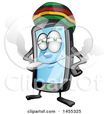 Cartoon Jamaican Rasta Smart Phone Mascot Smoking a Joint Posters, Art Prints