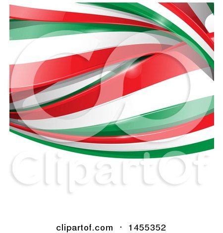 Clipart of a Background of Italian Flag Ribbon Banners over White Text Space - Royalty Free Vector Illustration by Domenico Condello