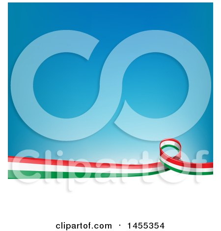 Clipart of an Italian Ribbon Flag Border Between White and Blue - Royalty Free Vector Illustration by Domenico Condello