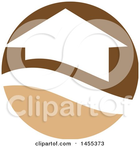 Clipart of a Brown and Tan House Circle Design - Royalty Free Vector Illustration by Domenico Condello