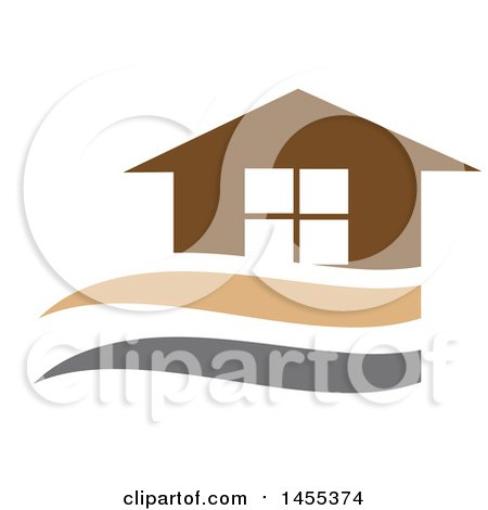 Clipart of a Brown Tan and Gray Home Design - Royalty Free Vector Illustration by Domenico Condello