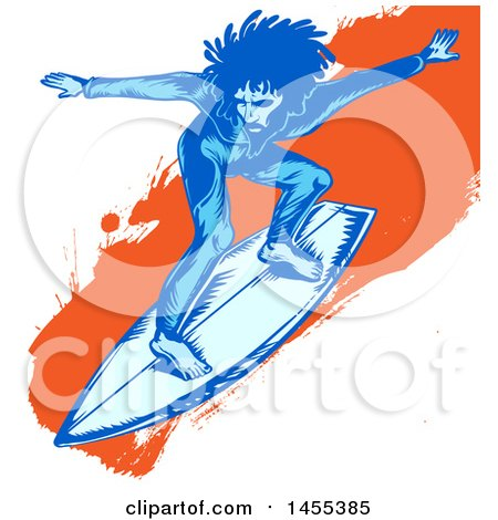 Clipart of a Blue Male Surfer with Dreadlocks Riding an Orange Splatter Wave - Royalty Free Vector Illustration by Domenico Condello