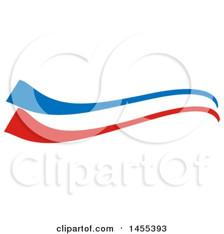Clipart Of A French Flag Themed Swoosh Design Element