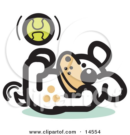 Playful Dog Playing With a Tennis Ball Clipart Illustration by Andy Nortnik