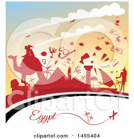 Clipart of a Travel Egypt Background with an Airplane, Flag and Red Silhouetted Icons Against a Sunset - Royalty Free Vector Illustration by Domenico Condello