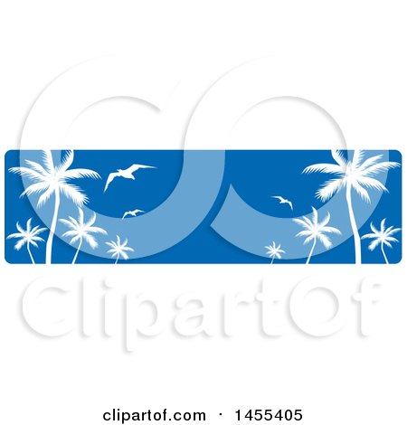 Clipart of a Blue Sky and Silhouetted Palm Tree and Gulls Banner - Royalty Free Vector Illustration by Domenico Condello