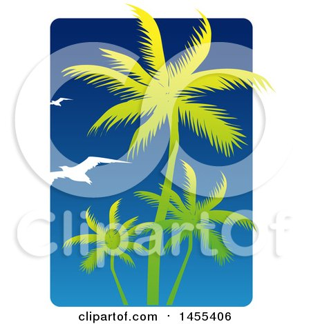 Clipart of a Blue Sky and Silhouetted Green Palm Tree and Gulls Design - Royalty Free Vector Illustration by Domenico Condello