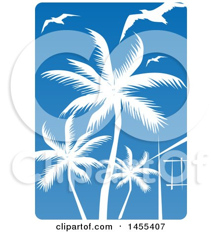 Clipart of a Blue Sky and Silhouetted Palm Tree and Gulls Design - Royalty Free Vector Illustration by Domenico Condello