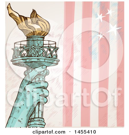 Clipart of a Sketched Statue of Liberty Hand Holding up a Torch over Stars and Stripes - Royalty Free Vector Illustration by Domenico Condello