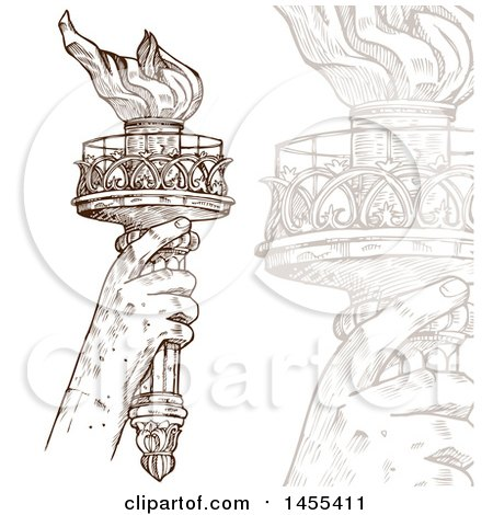 Clipart of a Sketched Statue of Liberty Hand Holding up a Torch and Faded Closeup - Royalty Free Vector Illustration by Domenico Condello