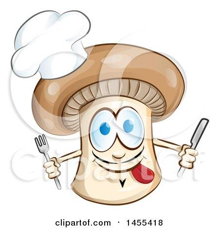 Clipart of a Cartoon Chef Mushroom Mascot Holding Cutlery - Royalty Free Vector Illustration by Domenico Condello