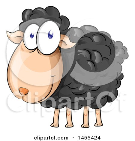 Clipart of a Cartoon Happy Black Sheep - Royalty Free Vector Illustration by Domenico Condello
