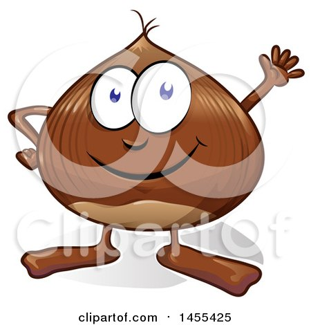 Clipart of a Cartoon Chestnut Mascot Waving - Royalty Free Vector Illustration by Domenico Condello
