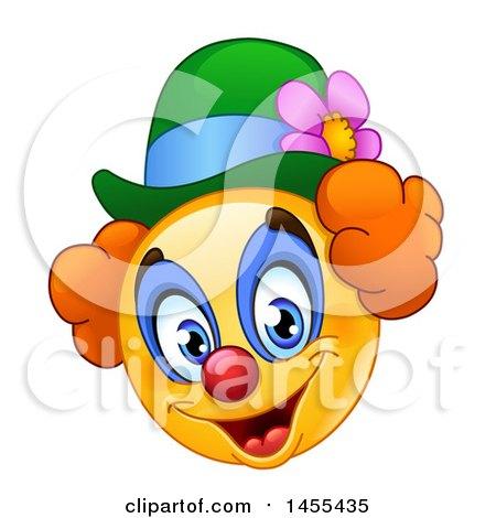 Clipart of a Cartoon Yellow Emoji Smiley Face Clown - Royalty Free Vector Illustration by yayayoyo