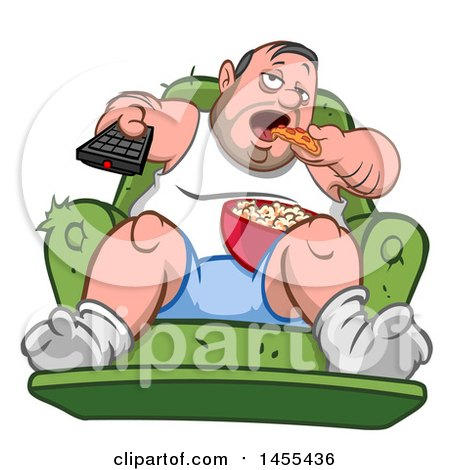 Clipart of a Cartoon Chubby White Man, Couch Potato, Watching Tv and Eating - Royalty Free Vector Illustration by yayayoyo