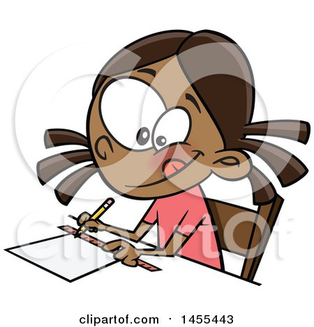 Clipart of a Cartoon School Girl Measuring with a Ruler - Royalty Free Vector Illustration by toonaday