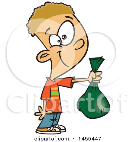 Cartoon White Boy Holding out a Bag Posters, Art Prints