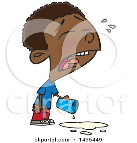 Clipart of a Cartoon Black Boy Crying over Spilled Milk - Royalty Free Vector Illustration by toonaday
