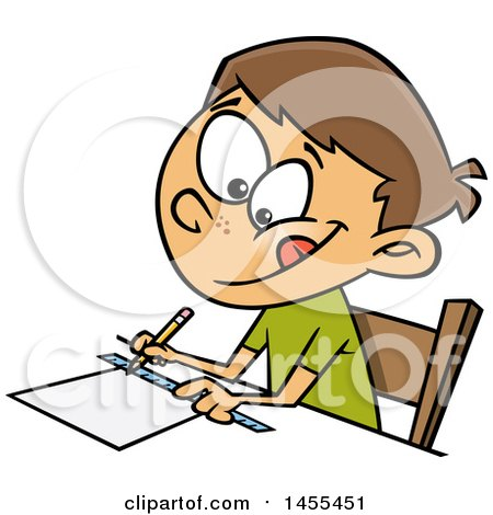 Clipart of a Cartoon White School Boy Measuring with a Ruler - Royalty Free Vector Illustration by toonaday