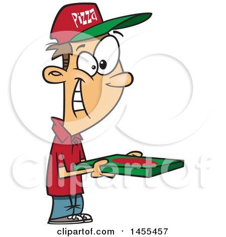 Clipart of a Cartoon Happy White Pizza Delivery Guy Holding a Box - Royalty Free Vector Illustration by toonaday