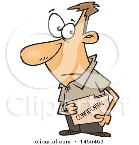Clipart of a Cartoon White Business Man Carrying a Confidential File Folder - Royalty Free Vector Illustration by toonaday