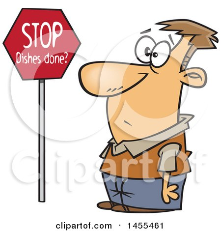 Clipart of a Cartoon Man Looking at a Stop Dishes Done Sign - Royalty Free Vector Illustration by toonaday