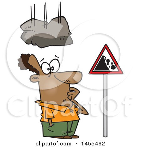 Clipart of a Cartoon Boulder Falling on a Black Man Staring at a Sign - Royalty Free Vector Illustration by toonaday