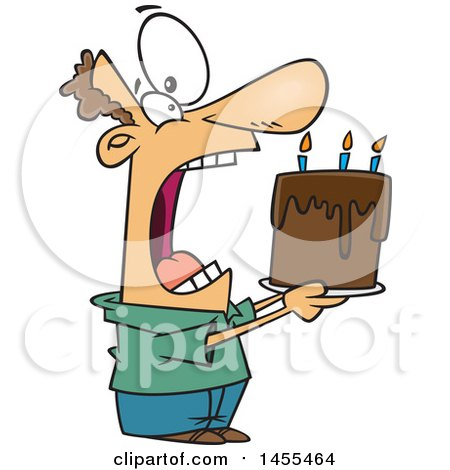 Clipart of a Cartoon White Man Swallowing an Entire Birthday Cake - Royalty Free Vector Illustration by toonaday