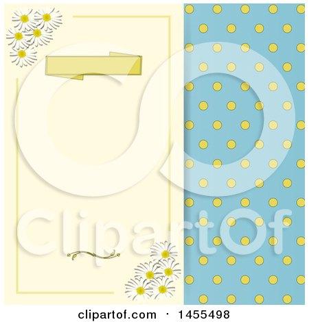 Clipart of a Vintage Polka Dot and Daisy Flower Themed Background - Royalty Free Vector Illustration by elaineitalia