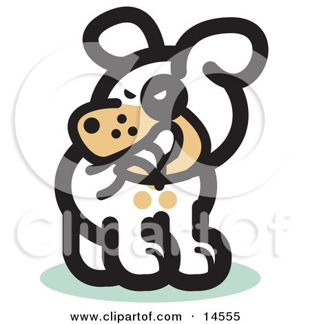 Silly Dog Biting His Own Tail Clipart Illustration by Andy Nortnik