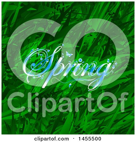 Clipart of a Background of Green Grasses and Plants with Blue Spring Text - Royalty Free Vector Illustration by elaineitalia