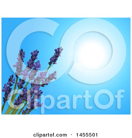 Clipart of a Background of 3d Lavender Flowers over a Sunny Blue Sky - Royalty Free Vector Illustration by elaineitalia