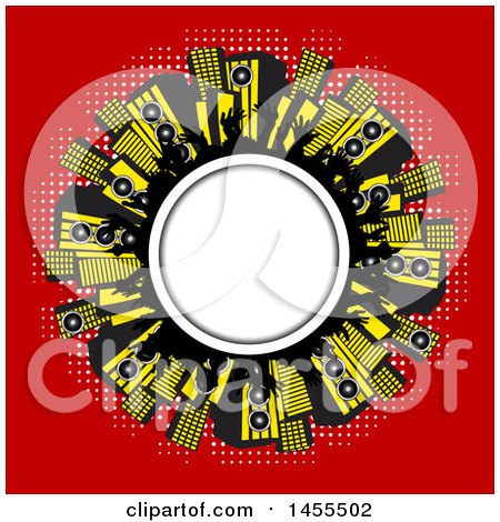 Clipart of a Round Frame with Silhouetted Hands and Music Speakers on Red - Royalty Free Vector Illustration by elaineitalia