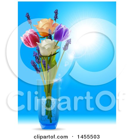 Clipart of a 3d Glass Vase with Tulips, Roses and Lavender Flowers over a Sunny Blue Sky - Royalty Free Vector Illustration by elaineitalia
