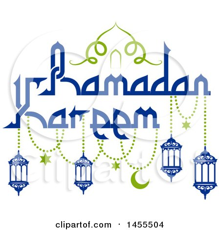 Clipart of a Blue and Green Ramadan Kareem Design with Lanterns and Text - Royalty Free Vector Illustration by Vector Tradition SM