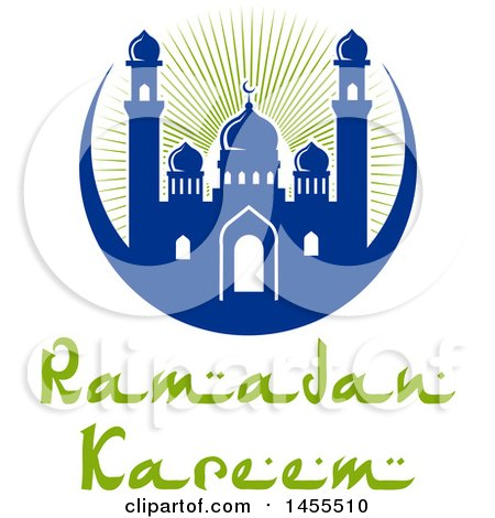 Clipart of a Blue and Green Ramadan Kareem Design with a Mosque and Text - Royalty Free Vector Illustration by Vector Tradition SM