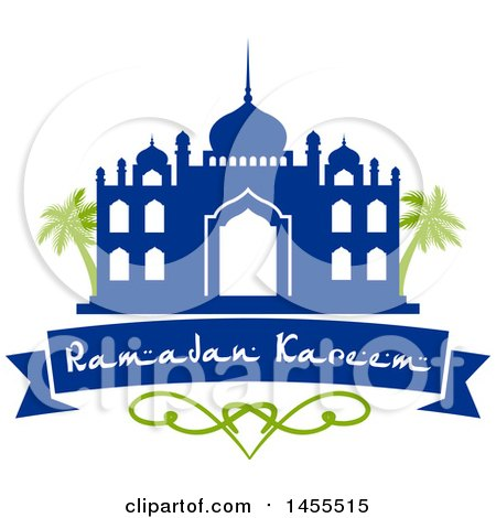 Clipart of a Blue and Green Ramadan Kareem Design with a Mosque, Palm Trees and Text - Royalty Free Vector Illustration by Vector Tradition SM