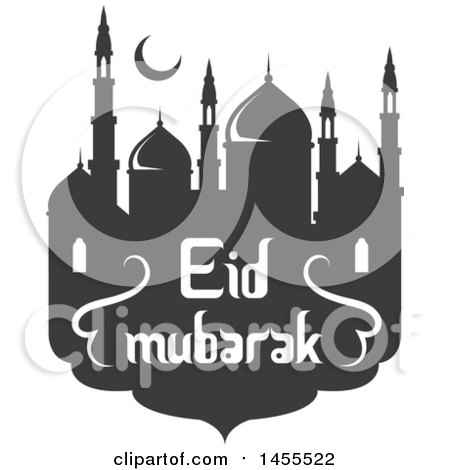 Clipart of a Green and Dark Gray Eid Mubarak Design with a Mosque and Text - Royalty Free Vector Illustration by Vector Tradition SM