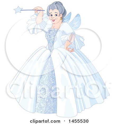 Clipart of a Happy Fairy Godmother Holding a Magic Wand - Royalty Free Vector Illustration by Pushkin