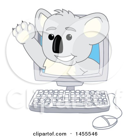 Clipart of a Koala Bear School Mascot Character Waving and Emerging from a Computer - Royalty Free Vector Illustration by Toons4Biz
